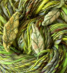 Art Yarn with felted leaves