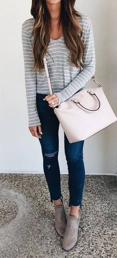 cool outfit idea top + bag + boots + ripped jeans