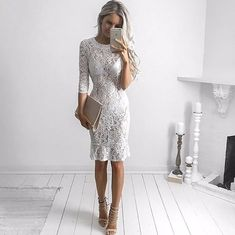 elegant white lace knee length prom dresses for teens, sleeves semi formal dress,cheap lace short homecoming dresses Dresses For Teens, Trendy Dresses, Nice Dresses, Formal Dresses, Dresses Dresses, Satin Dresses, Dresses Online, Lace Homecoming Dresses, Evening Dresses