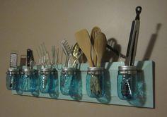 Blue Ball Mason Jar Organizer by FineNestFurnishings on Etsy, $58.00. I need this for my kitchen.