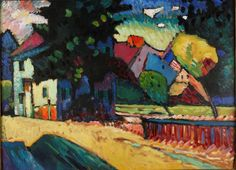 Wassiliy Kandinsky: Murnau, Landscape with Green House, 1909. Oil on cardboard, 69 x 74; Private collection, on long-term loan to the TAMA. © VG Bild-Kunst, Bonn 2015