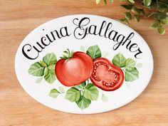 Tomatoes kitchen sign with name, Personalized kitchen door sign, Pizzeria sign, Farmhouse wall decor, Custom hostess gift Funny Kitchen Signs, Kitchen Decor Signs, Kitchen Humor, House Name Signs, Beach House Signs, Custom Outdoor Signs, Personalized Signs For Home, Sketch Free, Pizzeria