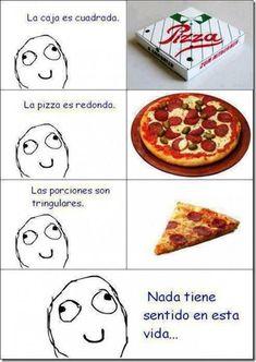 Imagen graciosa de meme de las pizzas y el porque