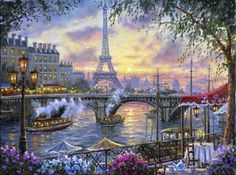 Tea Time in Paris - flowers, restaurant, river, sky, chairs, painting, can, eiffel tower, table, clouds, artwork, bridge