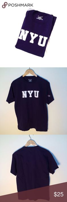 NYU New York University Champion Purple T-Shirt M Cute NYU Champion T-Shirt! Size Medium. Gently used with no flaws. Champion Tops Tees - Short Sleeve