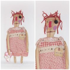 """Folk Art """"Worn Torn"""" Raggedy Annie Doll, Heart Ornies, Rag Doll, Raggedy Annie Doll, Handmade Doll From ICreaeAndCollect Etsy Shop by ICreateAndCollect on Etsy"""