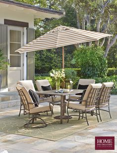 Extend your entertaining area outdoors with new patio furniture. Your backyard patio will be a welcoming place to gather. Host parties and get-togethers in an outdoor living space you really enjoy. Our Gabriel 7-Piece Outdoor Dining Set features a dining table with standard and swivel rocker chairs. The dining table has an umbrella hole in case you want to add some shade. Beige olefin fabric cushions have velcro back ties and are weather-resistant. Shop now at Home Decorators Collection.