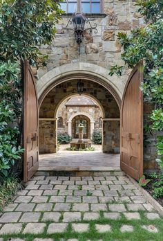 Everything for courtyard: pavers, stone facade, doors