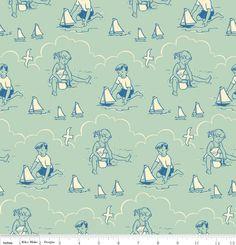 Riley Blake: Seaside - Seafoam (blue)-HoneybeeCloths