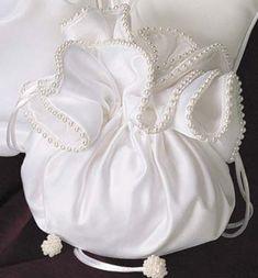 Pearled Edge Satin Bridal Purse with Drawstring Closure - Bridal Purses - Wedding Purses - Bridal Handbags - Bridal Tote Bags Diy Hair Accessories, Bridal Accessories, Bridal Handbags, Potli Bags, Wedding Purse, Diy Wedding, Diy Purse, Handmade Bags, Purses And Handbags