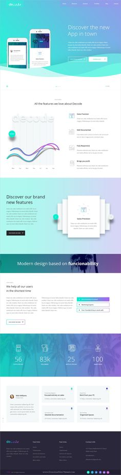 Decode is clean and modern design PSD template for stunning #app #landingpage website with 20 niche homepage layouts and 44 layered PSD files download now..