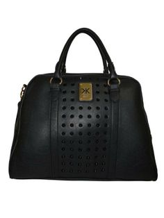 Kardashian Kollection 02471 Oversized Studded Bowler Bag Black