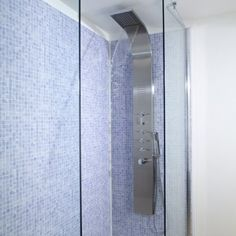 Stainless Steel Thermostatic Shower Panel Waterfall Fixed Head and Inset Jets - Hudson Reed