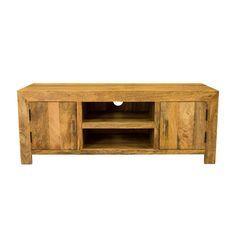 Ambala Cube Light Mango Wood TV & DVD Unit ( Wide )
