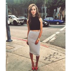 Turtleneck + skirt + shoes #summer #style