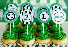 This traditional green, white & black soccer birthday party will make any little player happy on his birthday! Soccer Cupcakes, Soccer Birthday Cakes, Birthday Cake Kids Boys, Football Birthday, Birthday Gifts For Teens, Soccer Party, Cool Birthday Cakes, Fun Cupcakes, Cupcake Party