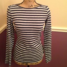 J. CREW long sleeve TShirt This JCrew long sleeve shirt is so cute!  It is 100% cotton, and looks great with jeans or a faux fur vest with a scarf!  It is navy and gray stripes. J. Crew Tops Tees - Long Sleeve