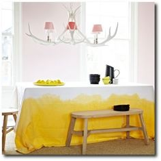 What a fun yellow, dip dyed dropcloth tablecloth!