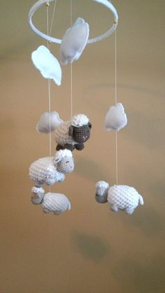 baby mobile nursery mobile sheep mobile lamb mobile crib mobile crochet sheep baby gift. Black Bedroom Furniture Sets. Home Design Ideas