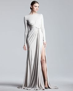 Elie Saab Long-Sleeve Jersey Gown - Bergdorf Goodman