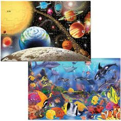 Melissa & Doug Floor Puzzle Bundle (Solar / Underwater) by Melissa & Doug. $24.99. Easy-Clean surface keeps puzzles looking new.. Puzzling promotes hand-eye coordination and problem-solving skills.. 48 extra-thick cardboard pieces in each puzzle. Beautiful original artwork. Each puzzle is 2 feet x 3 feet when assembled.. From the Manufacturer                Kids can explore the wonders of the deep blue sea and the far reaches of the solar system in this pair of vibrantly illu...