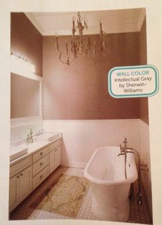 Intellectual Gray, Sherwin Williams. Really like this gray with the white trim. Looks bright and dark at the same time. Would be pretty for my bathroom.  |HGTV Magazine, December 2014, Joanna & Chip Gaines House Tour|