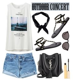 """""""Outdoor Summer Concert"""" by dora04 ❤ liked on Polyvore featuring moda, Uniqlo, Levi's, Boohoo, Yves Saint Laurent, Stila y outdoorconcert"""