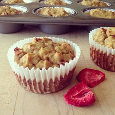 Coconut flour muffins sweetened with strawberries and bananas.