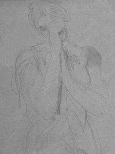 CHASSERIAU Théodore,1845 - Cléopâtre se donnant la Mort, Etude - drawing - Détail 1
