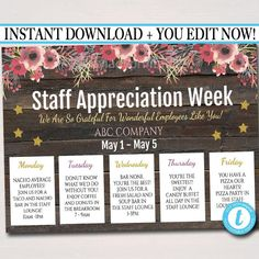 gifts for employees from boss Staff Appreciation Week Itinerary Poster - Appreciation Week Schedule Events, Fundraiser Printables