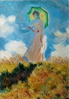 """Copia da """"Dama con l'ombrellino"""" di C. Monet. Olio su cartone telato"""
