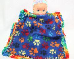 13X13 Crochet Edge Fleece Lovey Blankets by MonaSewingTreasures