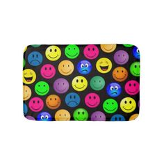 Colorful Emoji Smiley Faces Funny Bath Mat