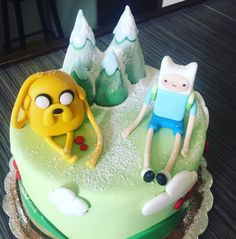 Jake and Finn enjoying a light powdered sugar snowfall.