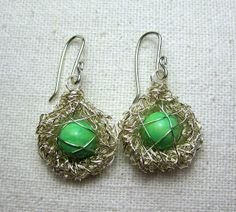 Mr. Micawber's Recipe for Happiness: Bird's Nest Wire Crochet Earrings & Tutorial