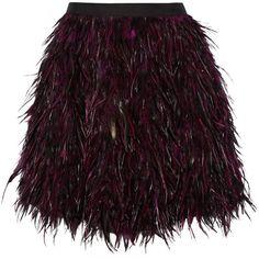 Alice + Olivia Cina feather mini skirt (€245) ❤ liked on Polyvore featuring skirts, mini skirts, black, short skirts, feather mini skirt, short mini skirts, feather skirt and alice olivia skirt