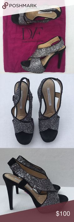"""Diane von Furstenberg Zia Glitter Stiletto A chunky platform and a lofty stiletto heel elevate a sparkling open-toe sandal. Approx. heel height: 4 3/4"""" with 1 1/2"""" platform (comparable to a 3 1/4"""" heel). Glitter upper/leather lining/leather and rubber sole. By Diane von Furstenberg; imported. Unworn includes dustbag Diane von Furstenberg Shoes Heels"""