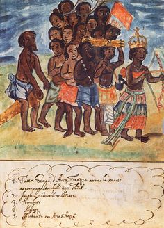 Queen Nzinga with Her Entourage, Kingdom of Kongo, 1670s by Antonio Cavazzi (Source).  Nzinga was a 17th century queen who thwarted Portuguese colonization with her military skill and diplomatic cunning.  An excellent military strategist, she led troops into battle past the age of 60.  Nzinga also provided a haven for escaped slaves, many of whom joined her army.    For more information: Stuff You Missed in History Class podcast, There's Always a Seat for Queen Nzinga, January 30, 2012