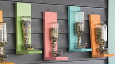 HGTV shows you how to make a DIY bird feeder out of recycled bottles. Upcycled Crafts, Diy And Crafts Sewing, Diy Crafts, Beach Crafts, Old Bottles, Recycled Bottles, Glass Bottles, Diy Bird Feeder, Diy Wine Bottle Bird Feeder
