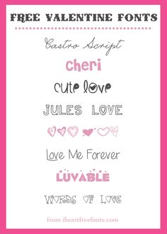 8 {Pretty} Free Valentine Fonts  ~~ {w/ easy download links}