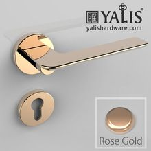 Zinc Modern Door Lever Handles On Rose Mortise Handles With Round Plate