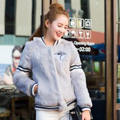 Real Fur Coat For Women Rabbit Fur Baseball Uniform Winter Short Jacket Thick Warm Casual Loose Outwear Genuine Fur Coat Female
