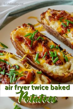 These easy air fryer twice baked potatoes are a creamy and cheesy side dish that is a perfect addition any meal. Hearty baked potatoes are filled with mashed potatoes, sour cream and cheese and topped with bacon and chives. Air Fryer Recipes Vegetarian, Air Fryer Recipes Snacks, Air Frier Recipes, Air Fryer Recipes Breakfast, Air Fryer Dinner Recipes, Recipes Dinner, Cooking Baked Potatoes, Twice Baked Potatoes, Mashed Potatoes