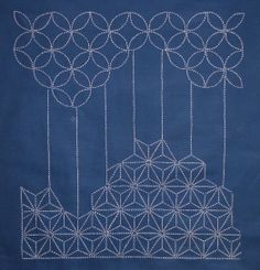 sashiko interesting straight line connection between different patterns