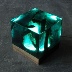 Underwater decor Resin and wood decor Ambient night light Resin table decor Resin night light One of a kind decor Unique night light Wood Resin, Resin Art, Unique Night Lights, Wooden Gift Boxes, Friday Night Lights, Resin Table, Wood Table, Led Licht, Resin Crafts
