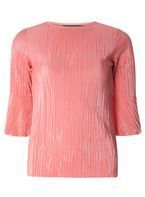 Womens Coral Flutter Sleeve Plisse Top- Coral