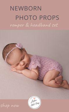 Newborn girl outfit for photography, Romper set, Baby photo prop Newborn Hats, Newborn Posing, Newborn Girls, Newborn Photo Outfits, Newborn Photo Props, Newborn Photography, Girl Photography, Girls Rompers, Handmade Clothes