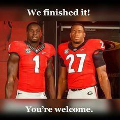 Nick Chubb and Sony Michelle finished the drill. Congrats and Good luck on the next level fellad. GO DAWGS! College Football Teams, Football S, Georgia Bulldogs Football, Athens Georgia, Georgia Girls, University Of Georgia, Kobe Bryant, Hedges, Conference