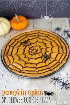 Pumpkin Spice Spiderweb Cookie Pizza | crazyforcrust.com
