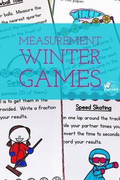 Winter Game Fun.  Love using these measurement winter games in my classroom.  The kids loved it and was a great measurement assessment.  Plus graphing results is included!